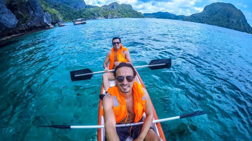 Kayaking with my friend Diego