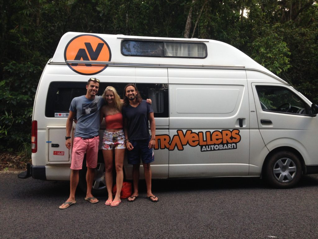 """Alejo, Chloe and I travelled through the East Coast in Australia in a campervan for """"free""""."""